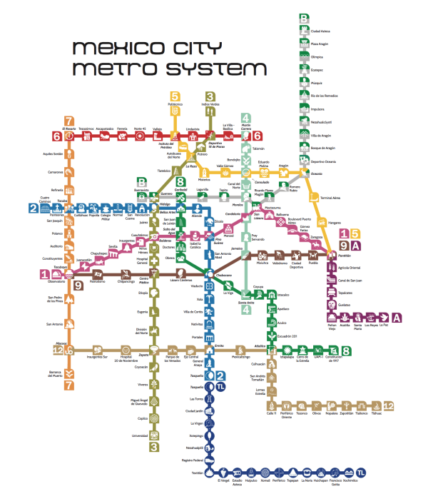 Updated Metro Map Subway Map Mexico City Transit Map