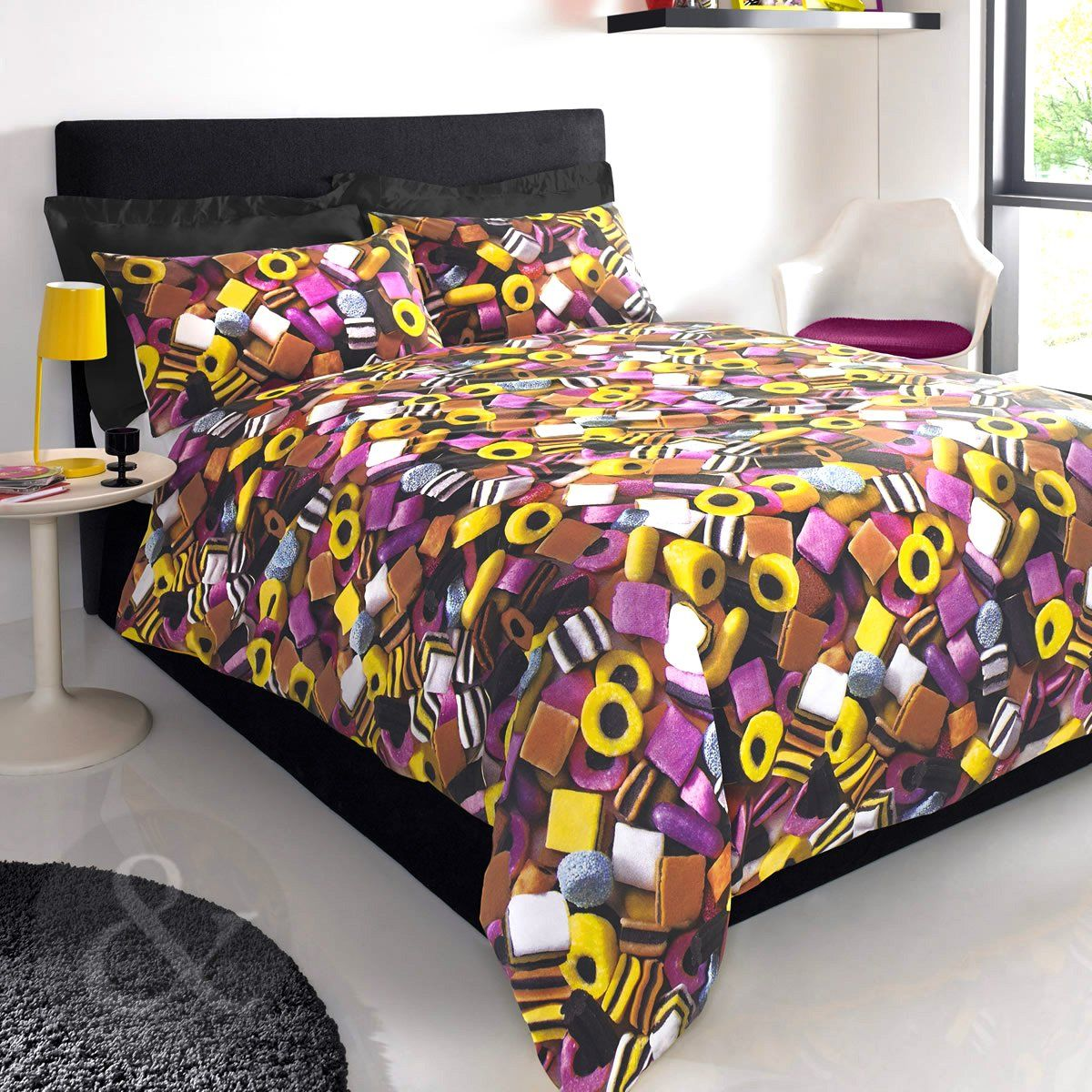 Bedding Liquorice Sweets Duvet Cover Pink Yellow Chocolate Brown Set