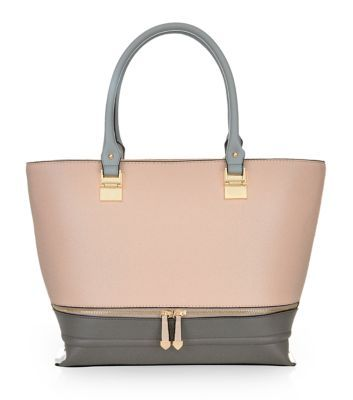 Pink Colour Block Zip Structured Tote Bag