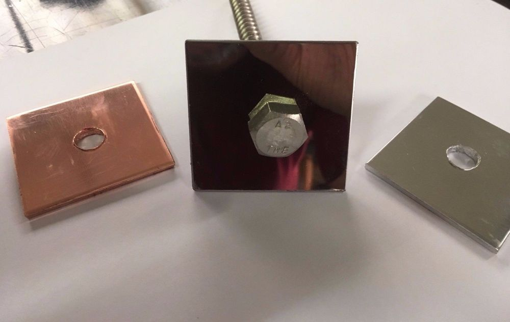50mm SQUARE PLATE WASHERS COPPER / MIRROR STAINLESS STEEL / ALUMINIUM M8 M10 M12 & 50mm SQUARE PLATE WASHERS COPPER / MIRROR STAINLESS STEEL ...