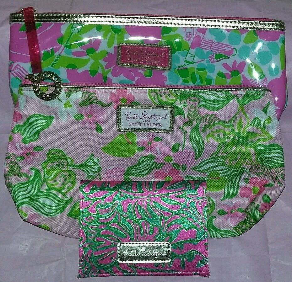 Lilly Pulitzer makeup bag lot set 2 cosmetic bags one