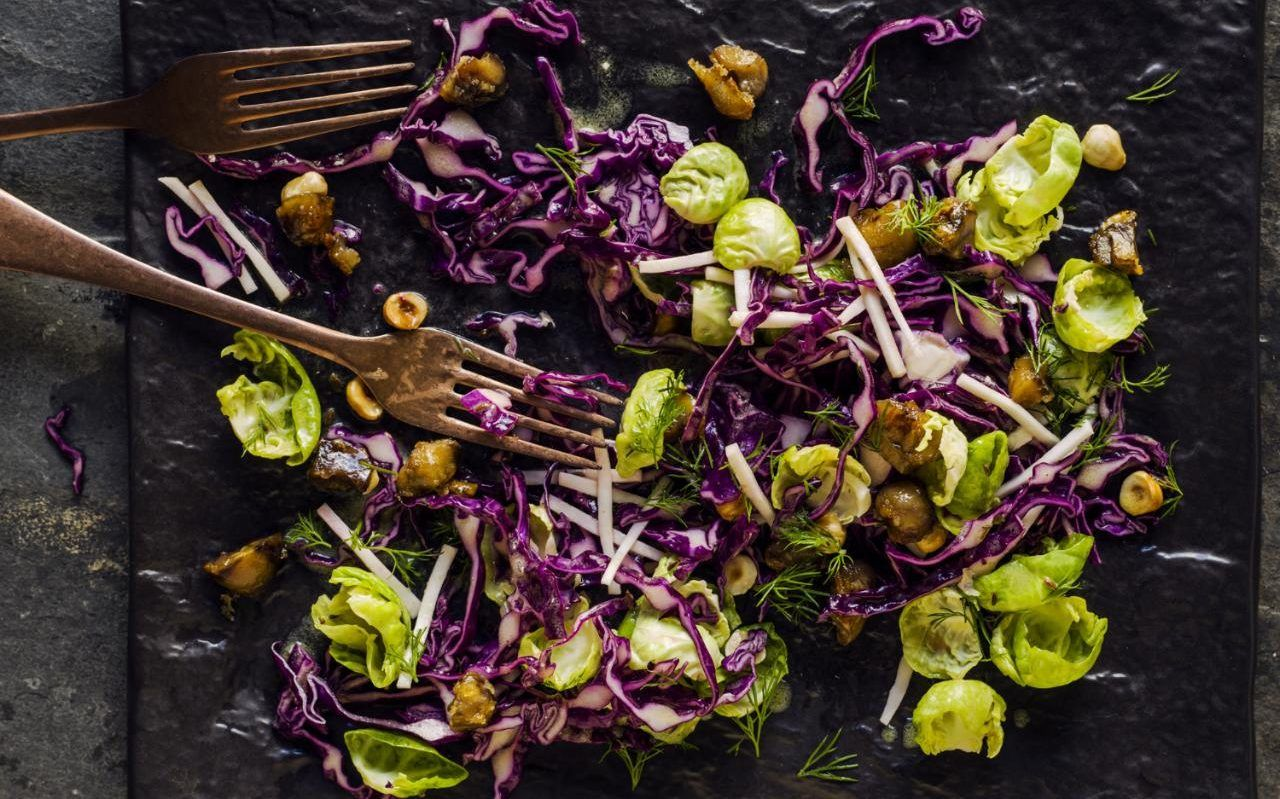Red cabbage, sprout, celeriac and chestnut salad recipe   Red ...