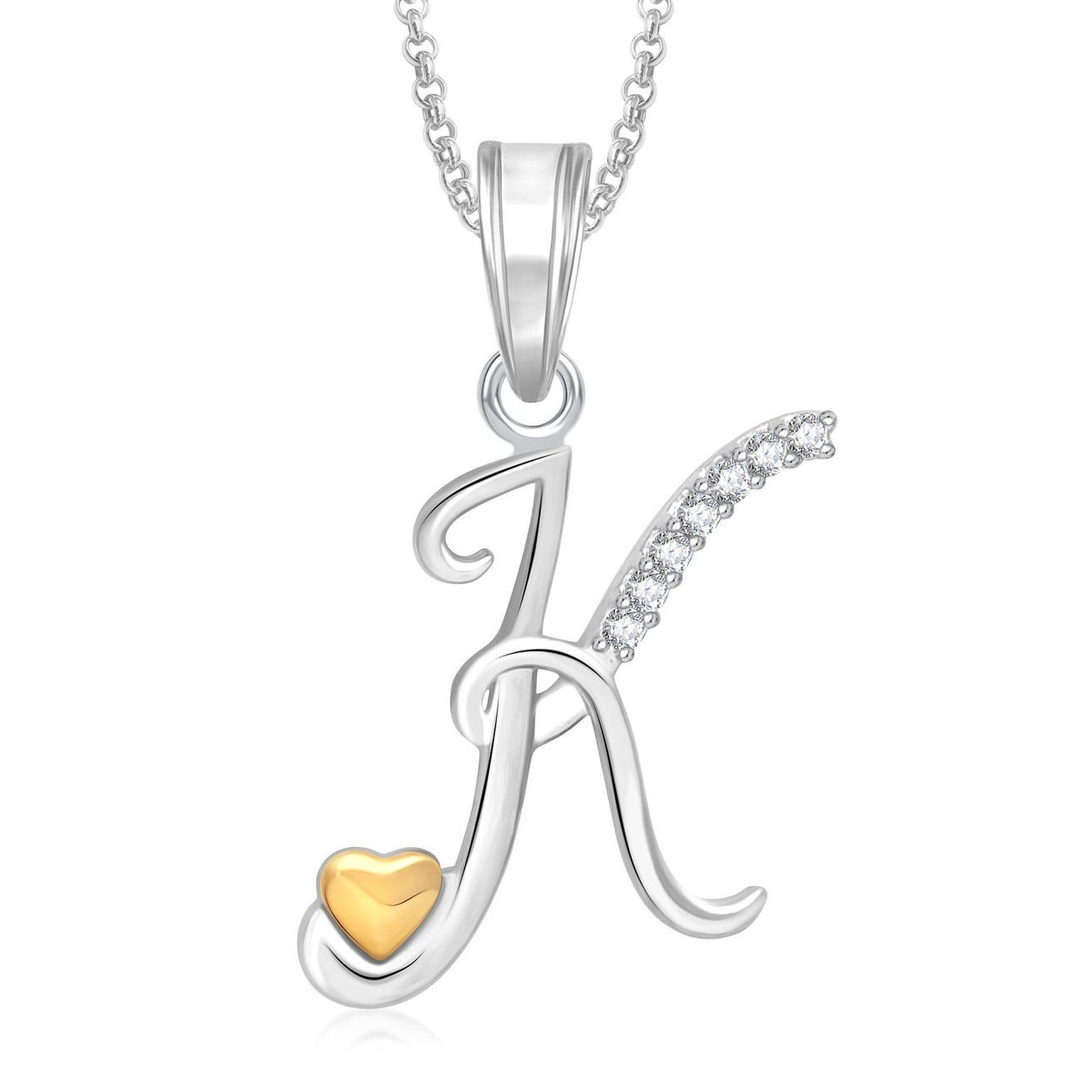 Meenaz Gold Silver Plated K Letter Pendant Locket Alphabet Heart