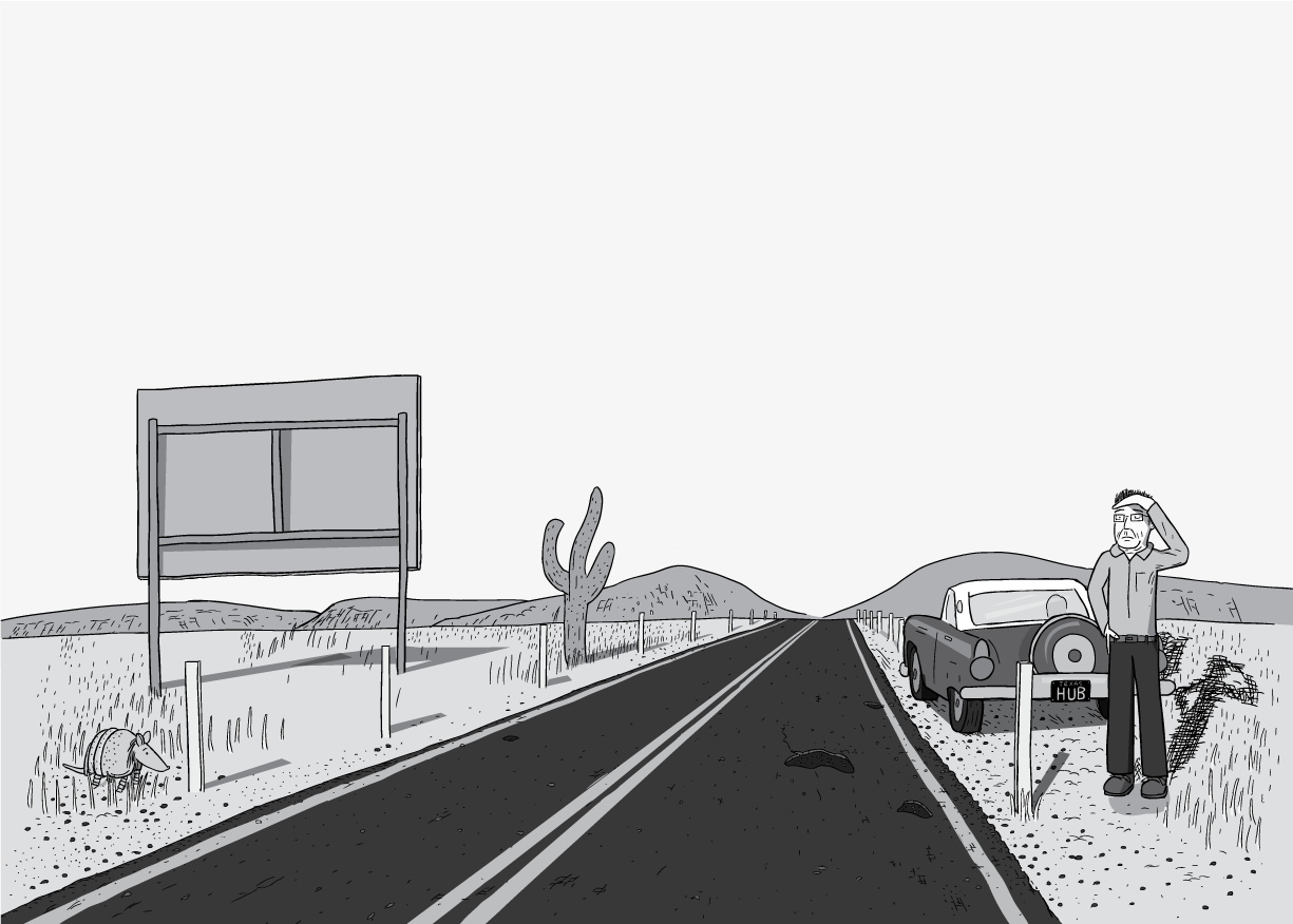 Man standing on the side of a desert highway, shielding his eyes ...