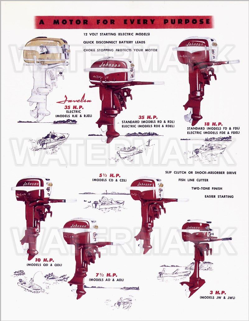 1957 Johnson Outboard Motor Line Up Illustration 3 Hp To 35 Hp Javelin Ebay Outboard Motors Outboard Lyman Boats