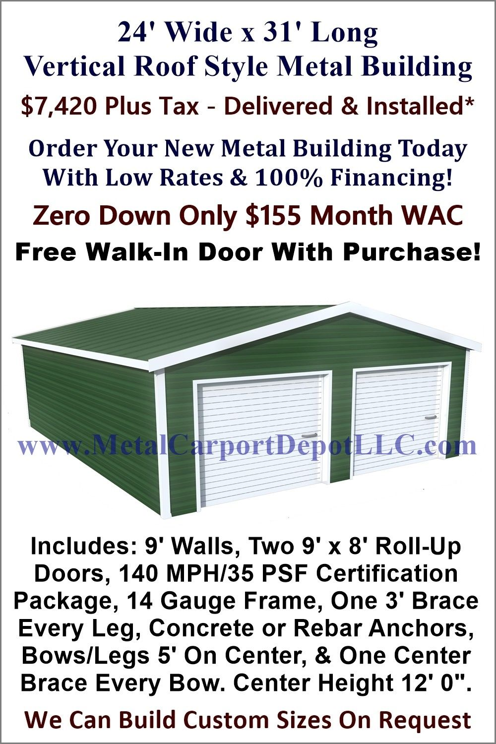 24 X 31 Steel Building Vertical Roof Metal Garage Metal Carport Depot Roof Styles Metal Buildings Roof