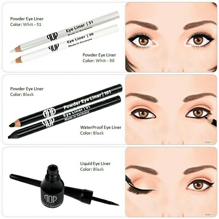 صورة توضيحيه لكيفية استخدام كل قلم الاسود السائل فوق الجفن الاسود الشمعي داخل العين الاسود الناشف تح Top Makeup Products Contour Makeup Eye Makeup
