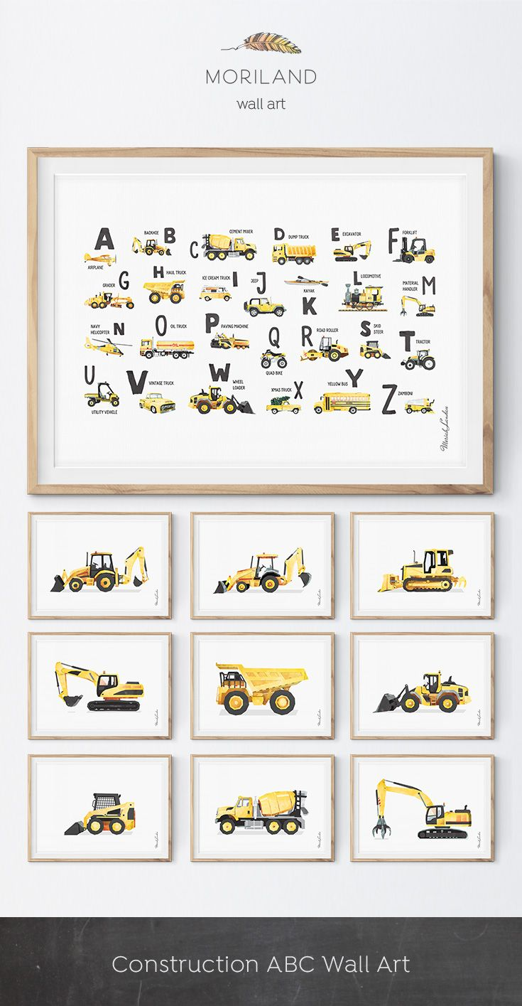 Construction Trucks Wall Art #toddlerrooms