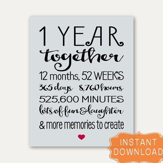 1 Year Anniversary Sign Annviersary Cute Gift For Boyfriend Card
