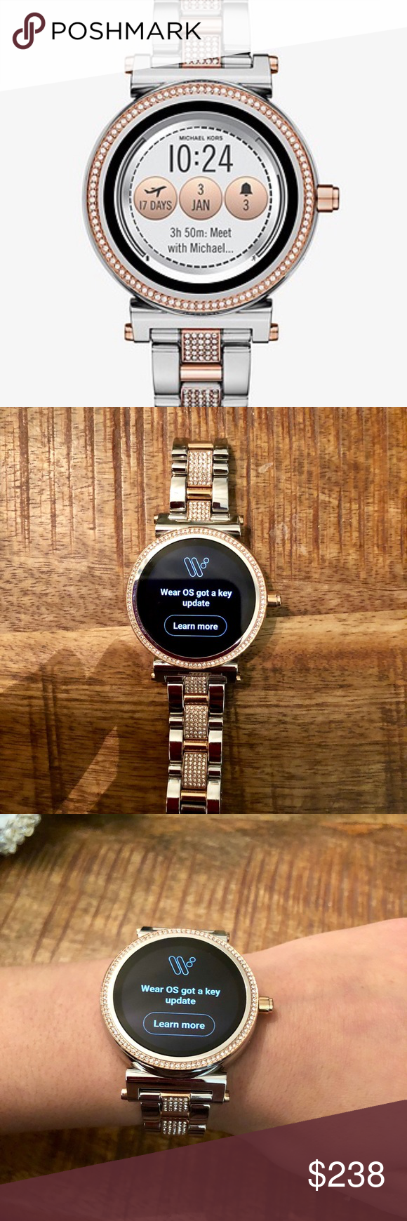 f0f57c2cf2e Michael Kors Access Watch MK Sofie Pavé Two-tone Smartwatch. Worn 3 times.  No Box. Charger included. • Powered by Android Wear™ • Compatible with  iPhone® ...