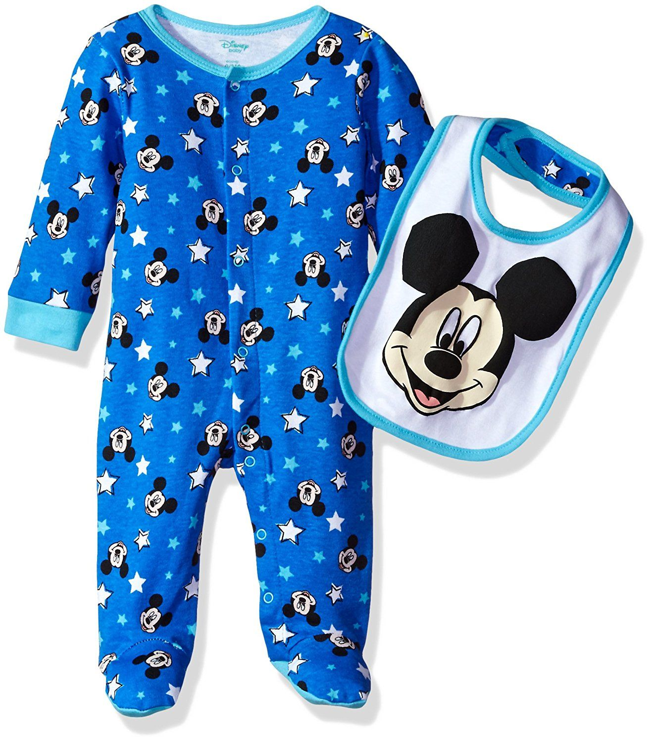 Disney Baby Boys Mickey Mouse Footie Sleeper and Bib OR Hat Set