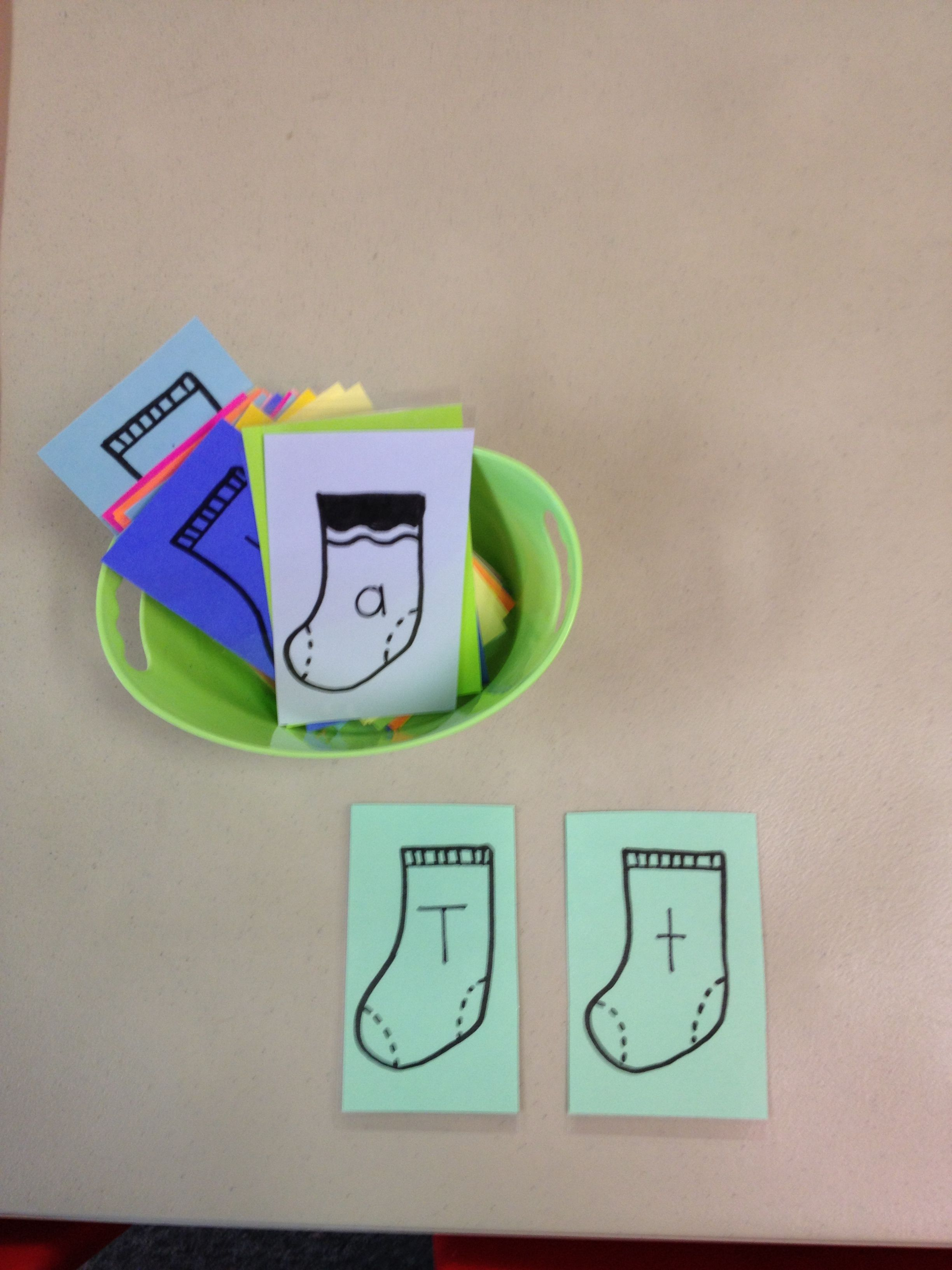 Preschool My Clothes Letter Sock Match