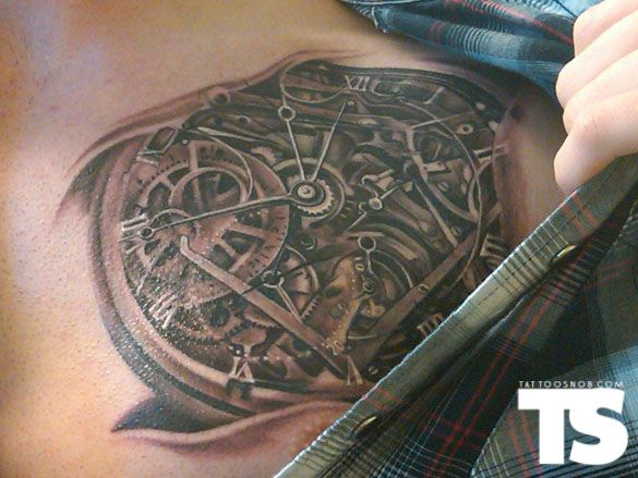 You Can Barely Tell It S A Clock The Skin Folds Don T Look Great But Interesting Idea Biomechanical Tattoo Design Biomechanical Tattoo Ink Tattoo