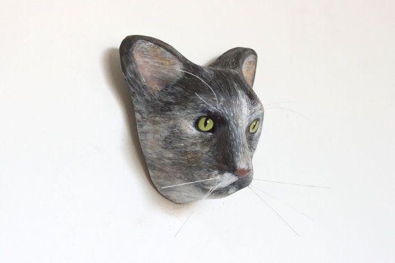 3D Custom cat portrait / wall decor scullpture faux by Macheanimal, $68.00