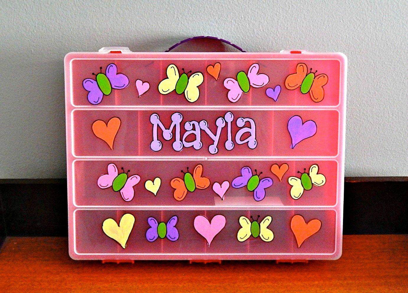 Pink Organizer Box - Rainbow Loom, Shopkins, Yummies, Lego, Beads & First Aid Supplies by ArtworksByAmy on Etsy https://www.etsy.com/listing/203296915/pink-organizer-box-rainbow-loom-shopkins