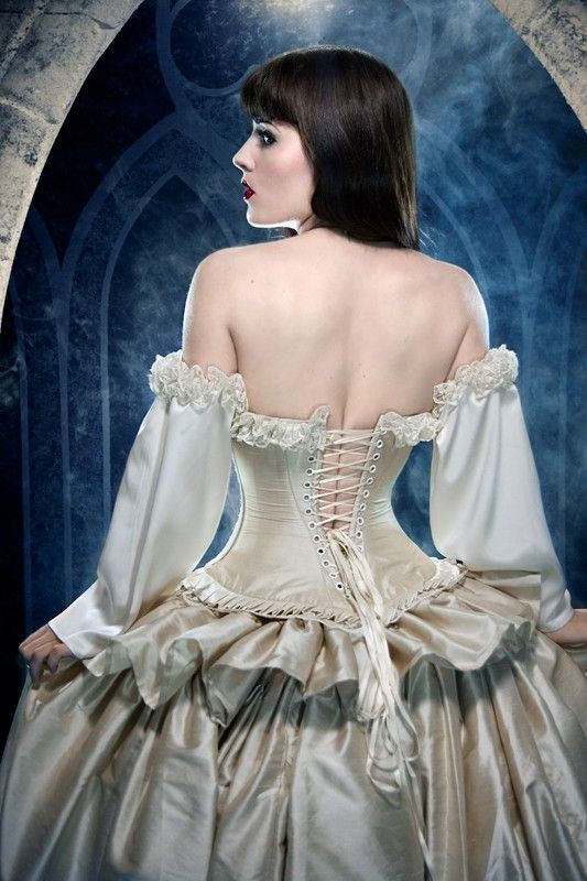 Gothic wedding dresses corset champagne