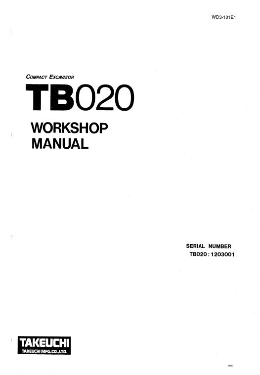 Takeuchi TB020 Compact Excavator Service Manual