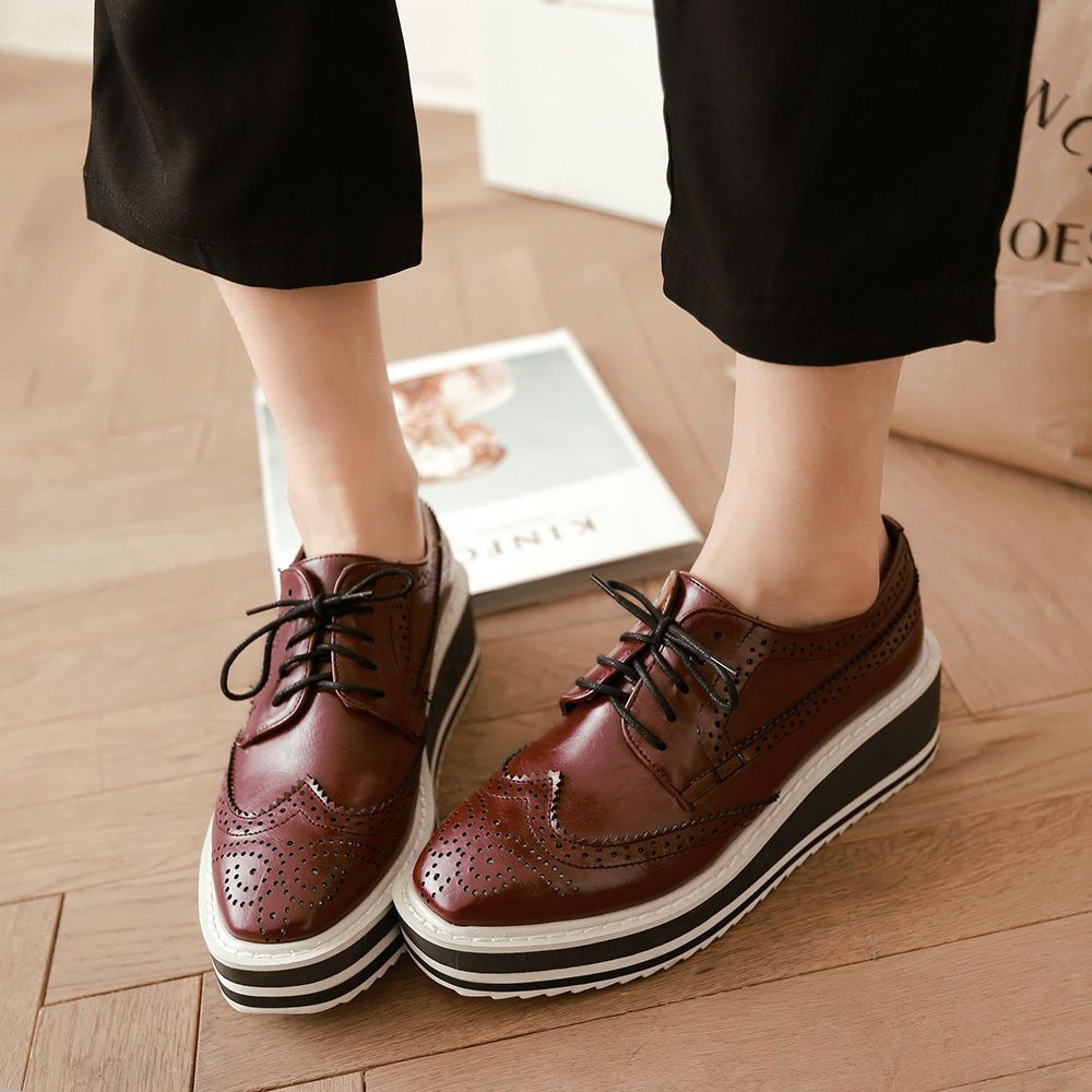 Womens Punk leather Oxford Platform Wing Tip Comfort Brogues Creeper Flat shoes