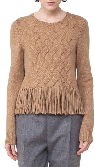 da9b10d77c85c Akris Punto Women s Fringe Cable Knit Wool Blend Pullover
