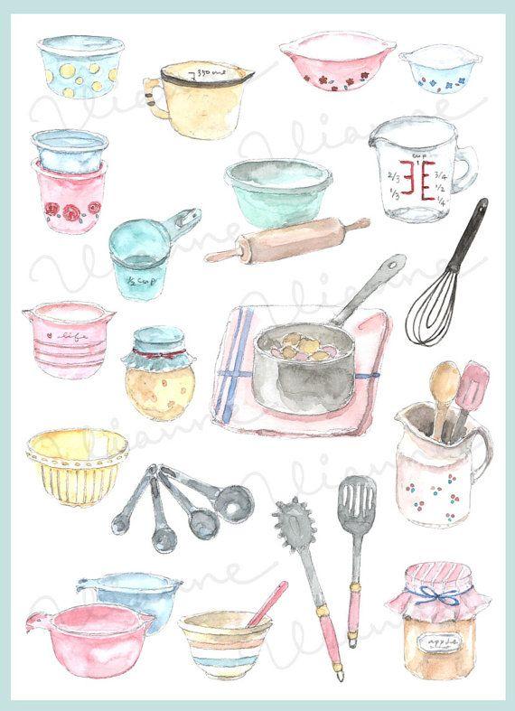 Clip Art Watercolor Vintage Cooking Supplies Set 20 Images