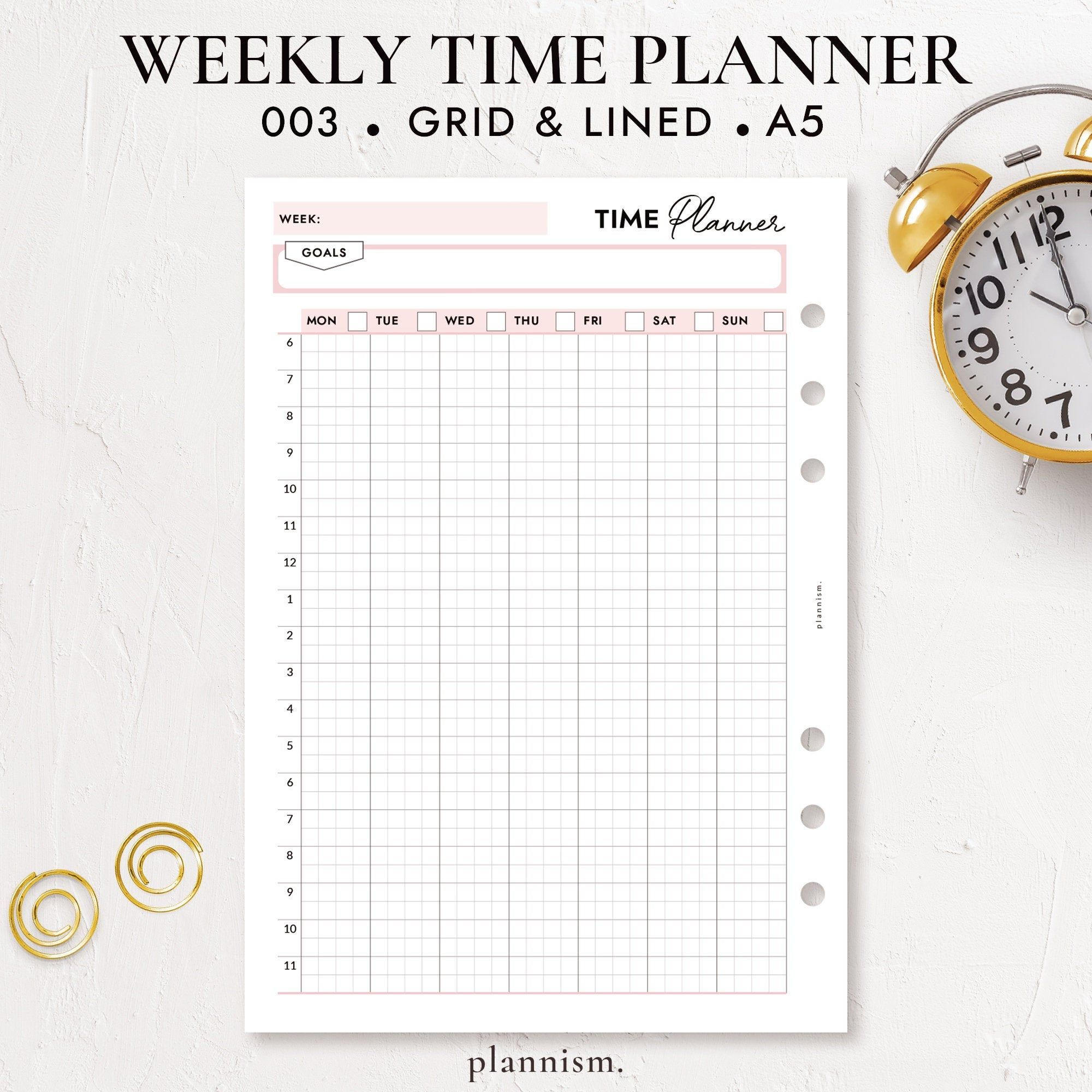 Weekly 24 Hour Schedule Printable A5 Planner Inserts