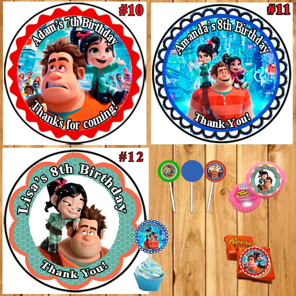 Ralph Breaks The Internet Birthday Round Stickers Printed 1 Sheet Cup Cake Toppers Favor Stickers Personalized Custom Made Birthday Stickers Sticker Labels Print Stickers