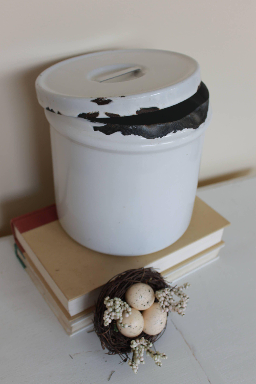 Vintage Enamel Canister, Enamelware Container, Round White Enamel ...
