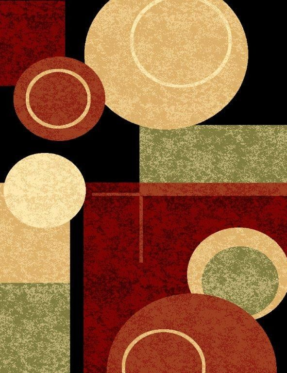 1010 Black Multi Green Beige Burgundy Rust Modern Area Rug