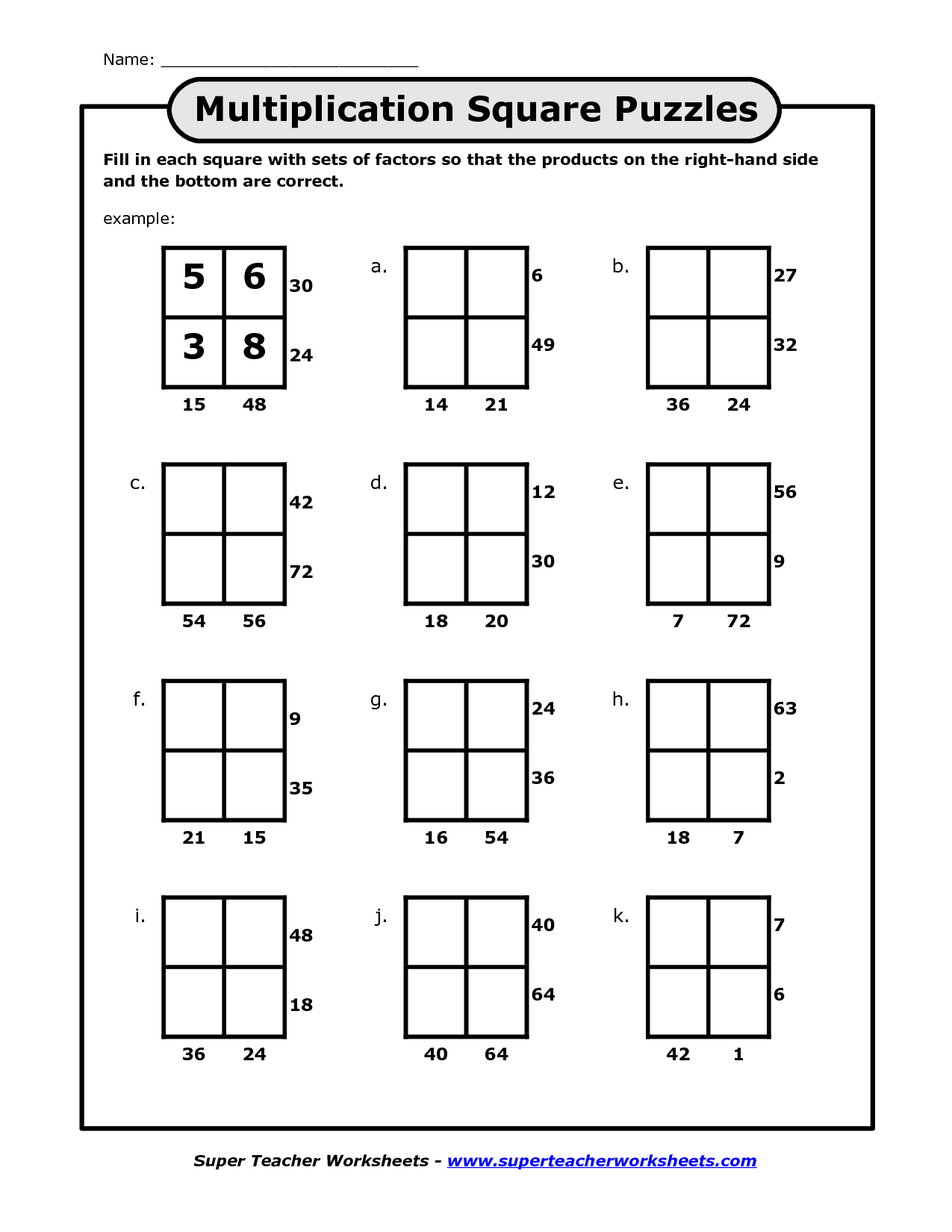 Math Puzzles For Kids Printable