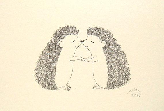 Line Drawing Hedgehog : Hedgehog illustration print ink drawing black white wall