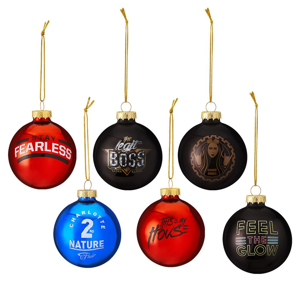WWE Women's Superstars 6-Piece Glass Ball Ornament Set | WWE ...