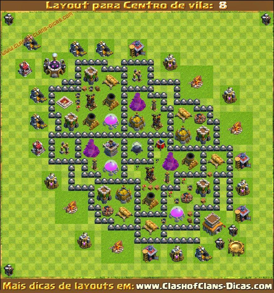 layouts centro de vila 8 cv8 para clash of clans clash of clans