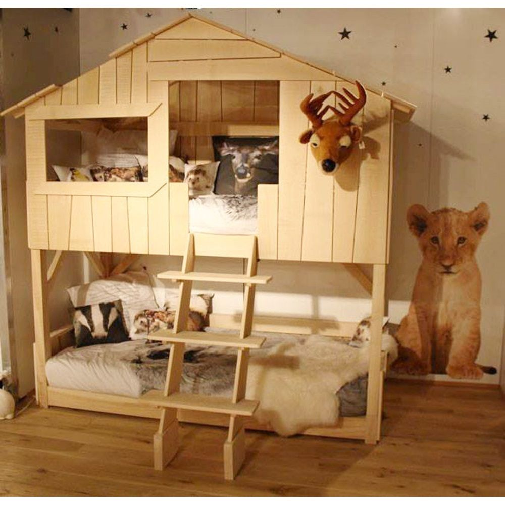 Mathy by Bols Treehouse Bunk Bed in Natural Pine & Mdf