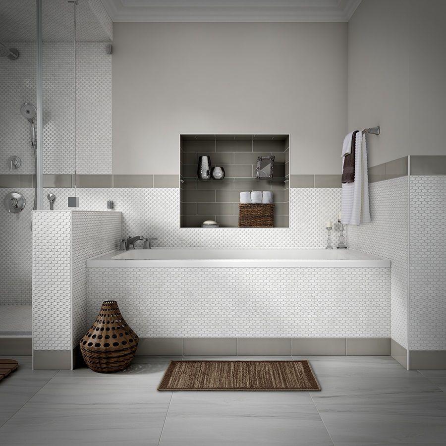 shop style selections chique gris porcelain floor tile common 12