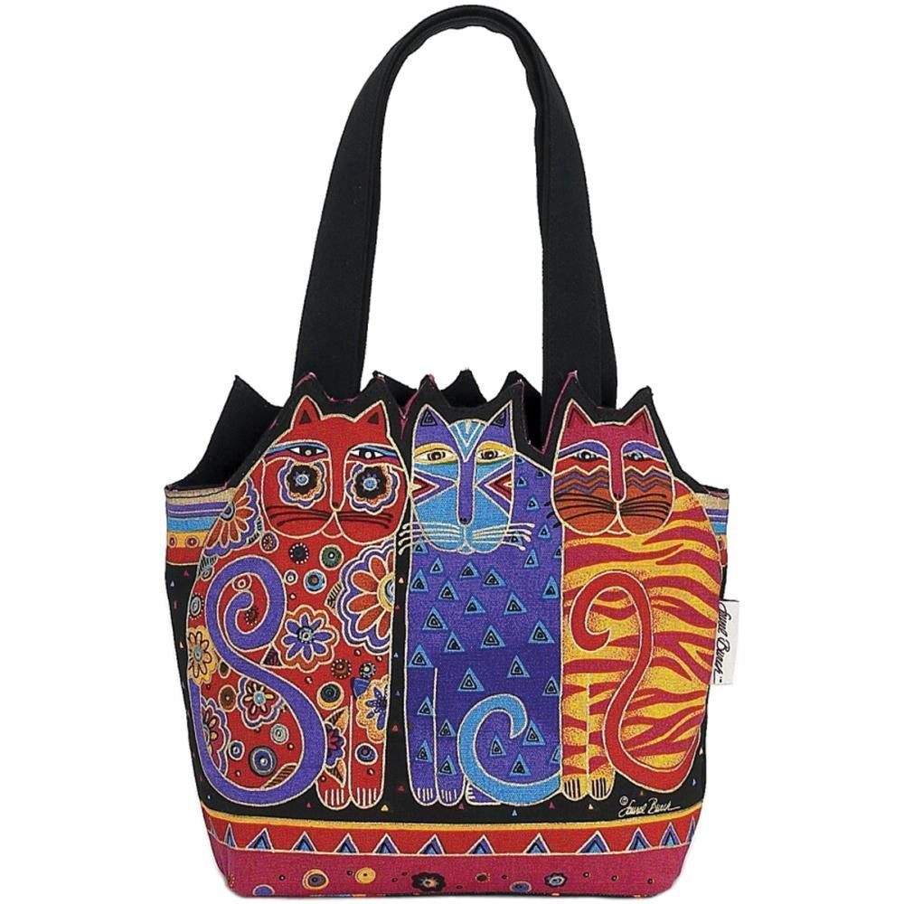"Medium Tote Zipper Top 12""X3.5""X8.5""-Tres Gatos - Red, Orange & Blue"
