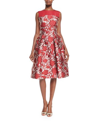 e261c0dabcaa8 Fit-&-Flare Rose-Print Cocktail Dress Red Rose/White in 2019 | Neck ...