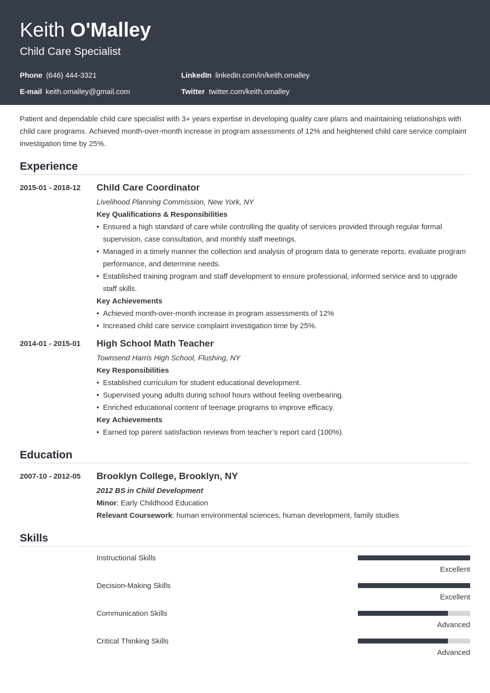 child care resume example template influx in 2020 Resume