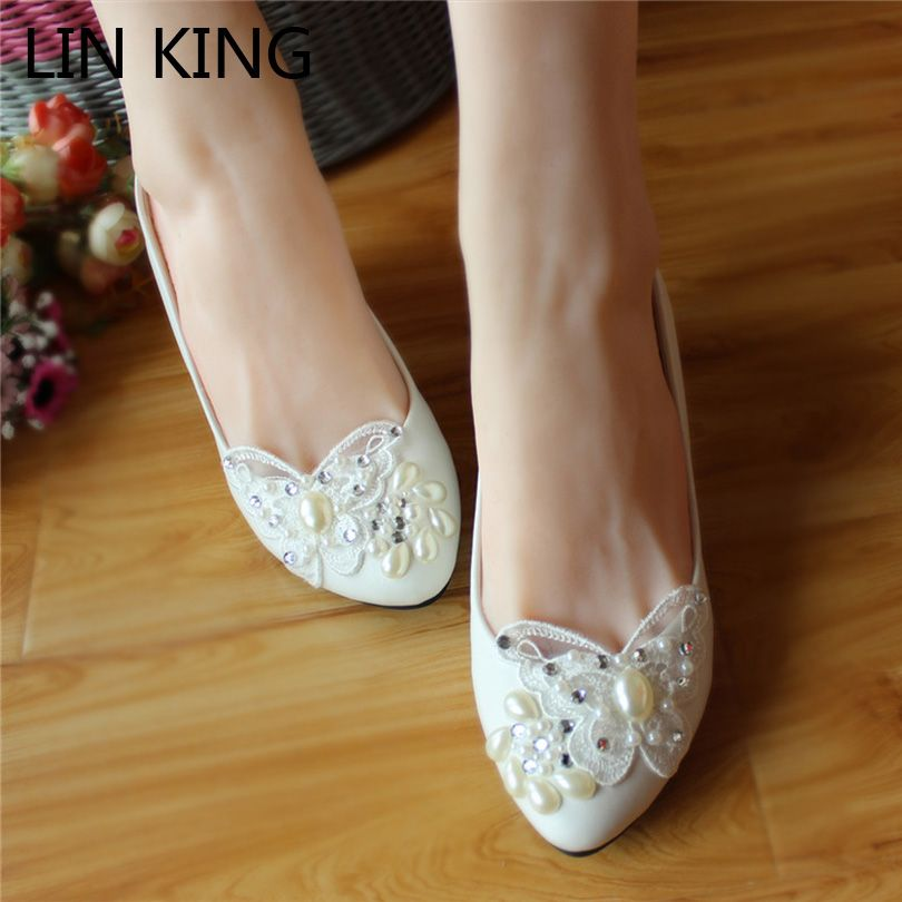 LIN KING Wedding Shoes Woman Butterfly Pearls Rhinestone Patent ...