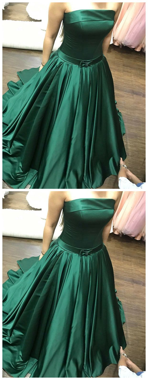 Strapless emerald green prom dressprom dresses formal prom dress
