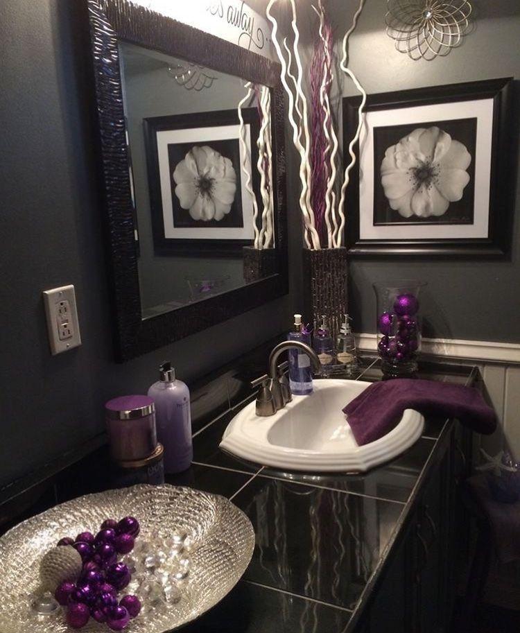 Pin By Alina Brudyan On Yassmѕ Gray Bathroom Decor Purple Bathroom Decor Purple Bathrooms Black and gray bathroom decor