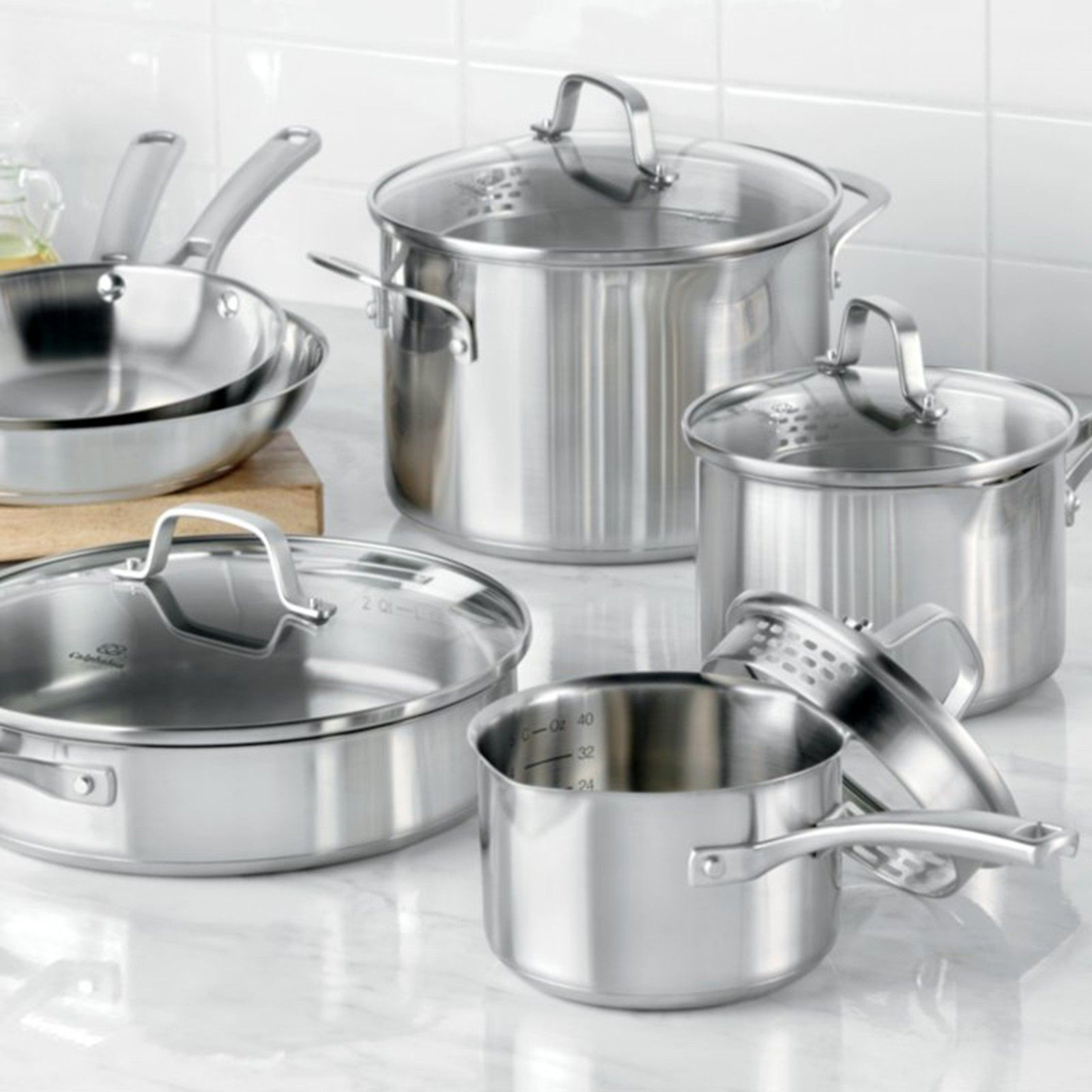 Classic Stainless 10 Piece Cookware Set By Calphalon Zola Cookware Set Cookware Set Stainless Steel Calphalon Cookware