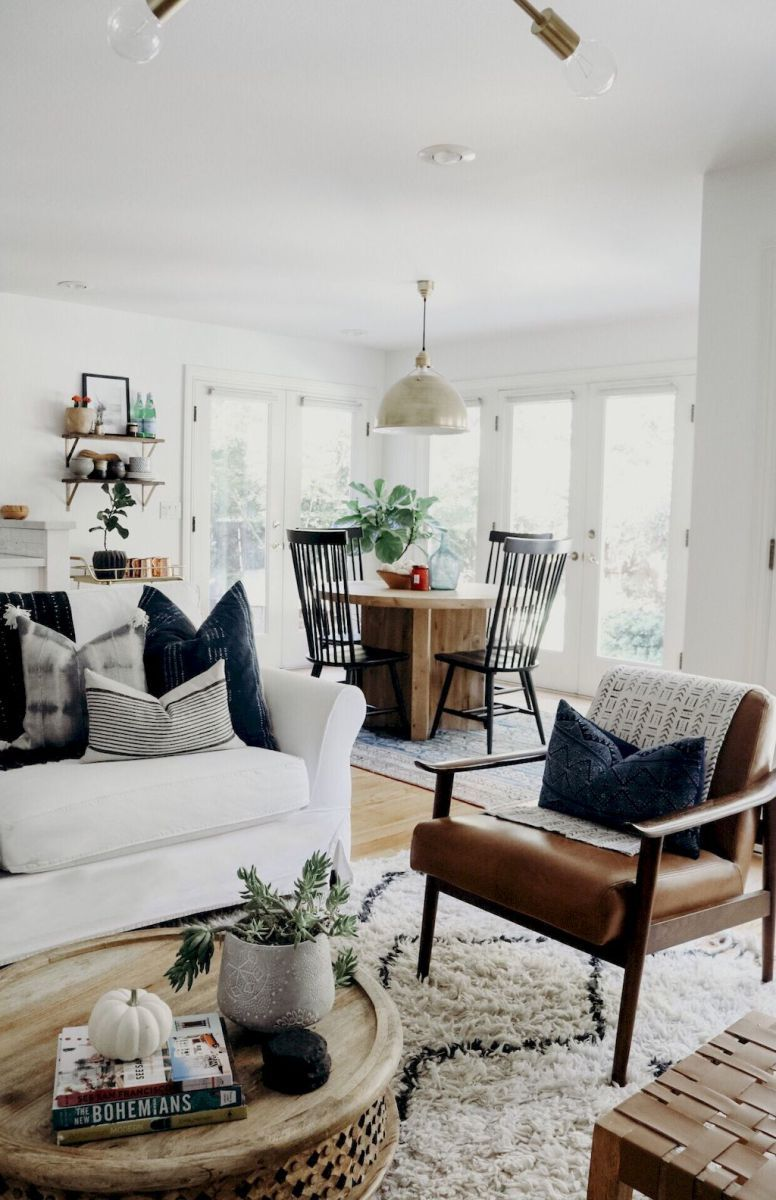 60 cool modern farmhouse living room decor ideas (1