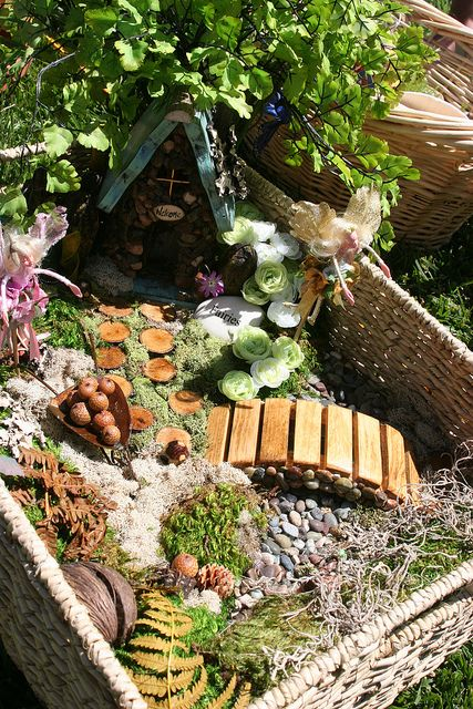 Fairy garden with bridge....love the little bridge