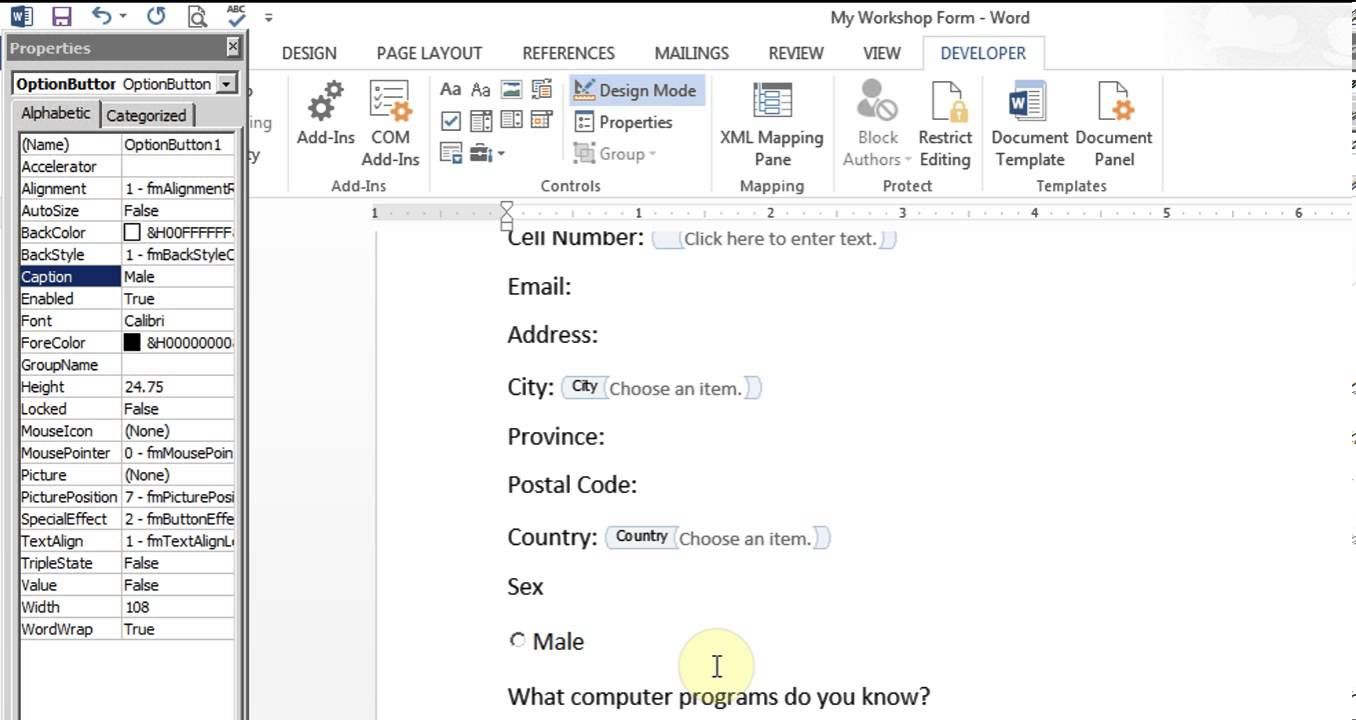 Microsoft Word  Create Form Office   Misc