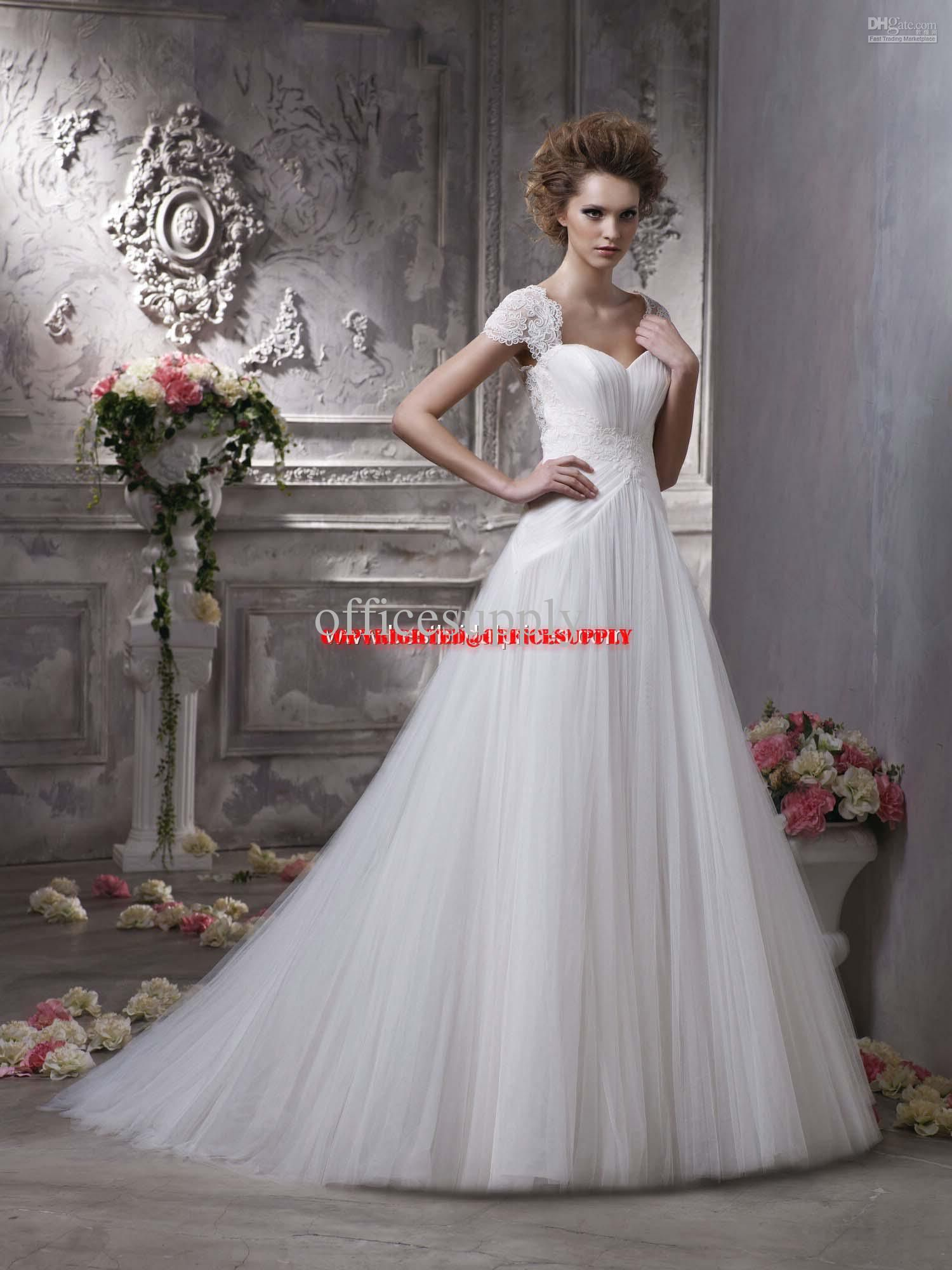 White lace wedding dress with sleeves  Wholesale Tulle Ball Gown Cap sleeve Wedding Dresses with sweetheart