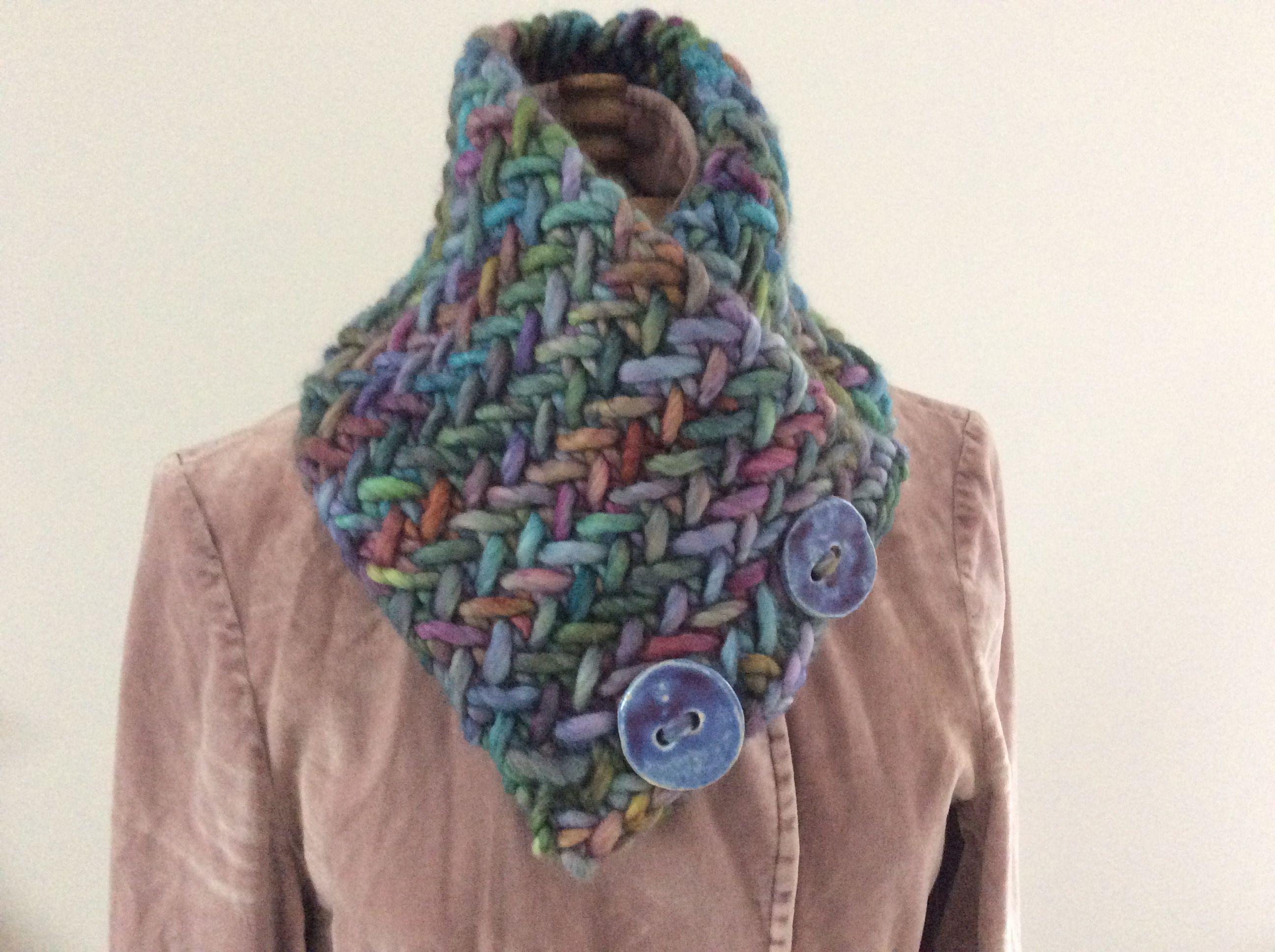 Herringbone Stitch Neckwarmer. Pattern from Ravelry by Breean Elyse Miller. Knitted using Malabrigo Rasta and 15mm needles. Finished 25th February.