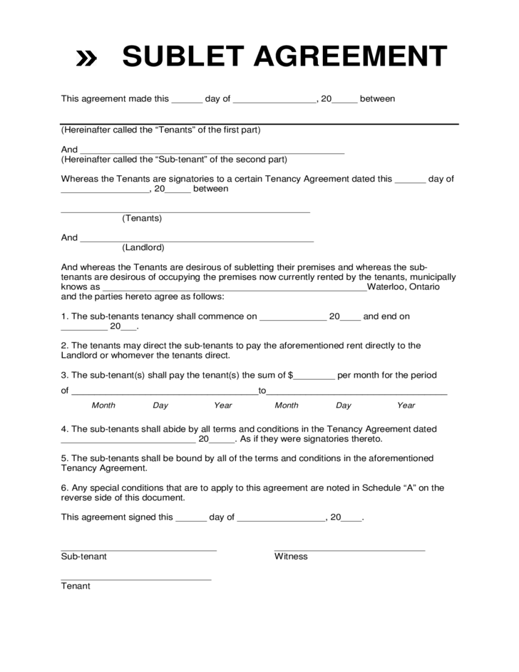 Sublet Agreement Template Sublet Agreement Template Sublease