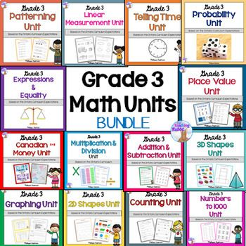 Grade 3 Math Units FULL YEAR BUNDLE (Based on the Ontario Curriculum ...