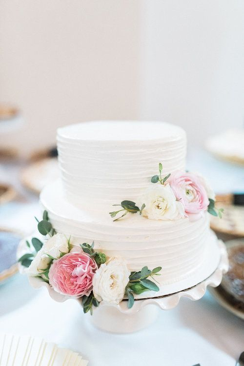 2 tier cake with soft pink and ivory floral accents Nashville