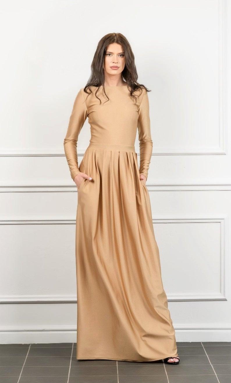 Sand Maxi Dress With Long Sleeves V Back Waistband Pockets Etsy Maxi Dress Dresses Wedding Dress With Pockets [ 1316 x 794 Pixel ]